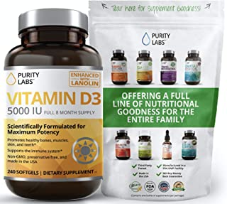 Pure Vitamin D3 with 5000IU Per Serving | 240 Softgels - 8 Month Supply | Supports Daily Defense, Bone, Hormone, Muscle, S...