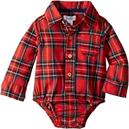 Red Tartan Plaid Long Sleeve One-Piece Crawler (Infant)