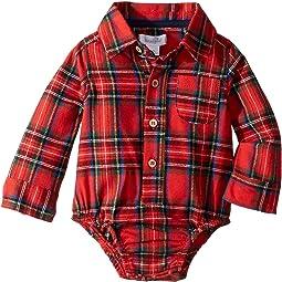 Red Tartan Plaid Long Sleeve One-Piece Crawler (Infant)