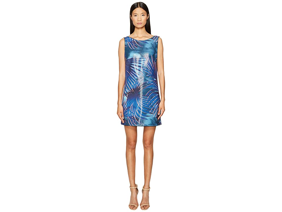 Just Cavalli Tie-Dye Palm Print Sleeveless Dress (Blue Variant) Women