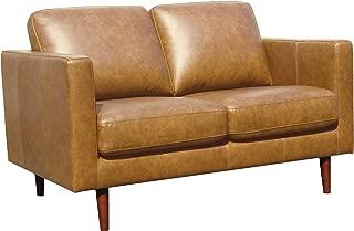 Rivet Revolve Modern Leather Loveseat with Tapered Legs, 56.3