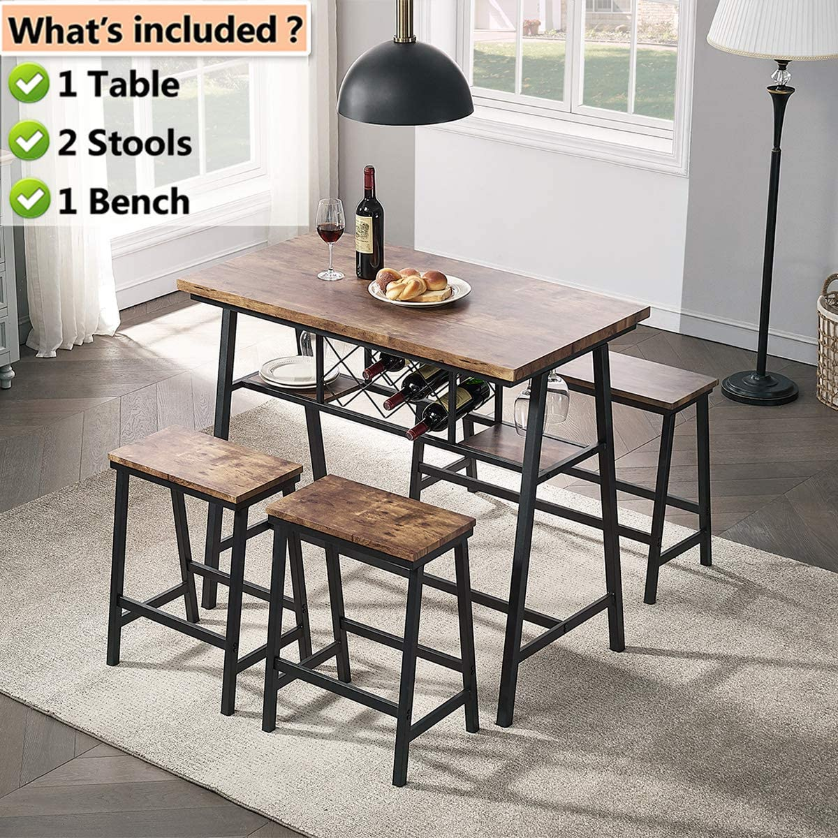 O&K FURNITURE 9 Piece Counter Height Dining Room Table Set, Bar Table with  One Bench and Two Stools, Industrial Table with Wine Rack for Kitchen ...