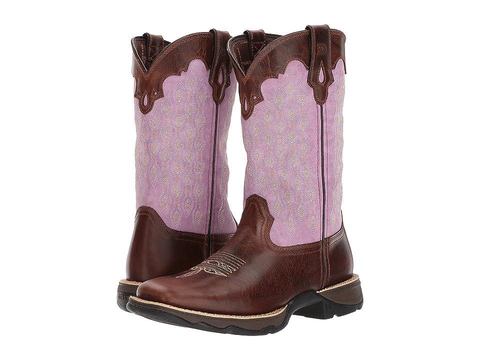 Durango Lady Rebel 11 Saddle (Dark Brown/Lavender) Cowboy Boots
