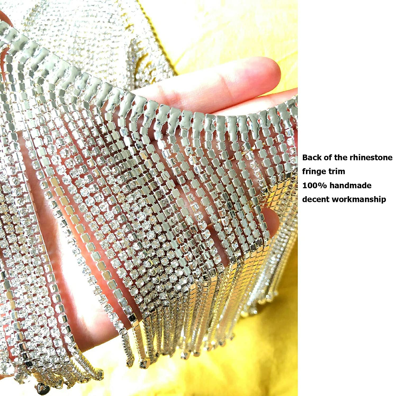 Dowarm 0.5 Yard Crystal Rhinestone Fringe Trim Silver Long Tassel Fringe Applique Trim Diamond White Crystal Chain Trim for Crafts Clothes Bridal Bouquet Crystal Clear, Long Tassel