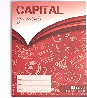 CAPITAL Stationery Exercise Book   8 X 6.5   88 Page   8mm Lined With Margin   Red   Learning Resources   Classroom Essent...