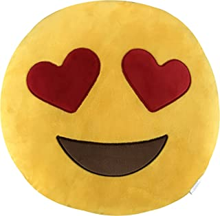 KINREX Emoji Pillow Toys For Kids And Adults - Heart Eye Yellow Pillow Cushion - Birthday Gifts For Boys, Girls, And Adults - 35 cm