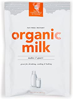 SACO Conscious Kitchen Fat-Free Instant Certified Organic Milk, for Drinking, Cooking, and Baking, Makes 1 Quart, 12 Pack