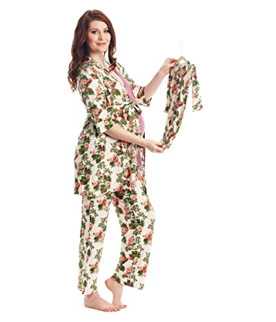 Everly Grey Analise Maternity/Nursing Mommy Me Five-Piece PJ Set (Beige Floral) Women