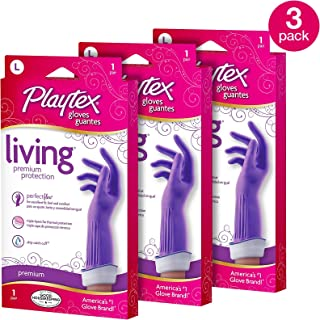 Playtex 041785998939-3 Living Reuseable Rubber Cleaning Gloves, Pack-3, 3 Count