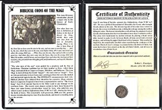 1 MX magi ANCIENT Biblical Coin of The Magi,Bronze Tetradrachm of Azes II,35 BC-5 AD,- Includes Certificate and Album.The larger Magi Coin. 18mm Fine