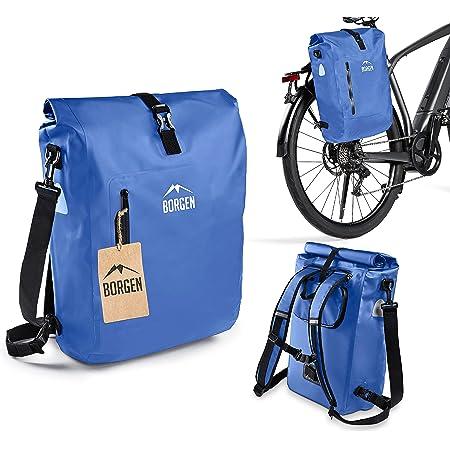 Borgen Fahrradtasche für Gepäckträger 3in1 Fahrrad Rucksack I Gepäckträgertasche I Umhängetasche Kombi Fahrrad Tasche - 100% wasserdicht und reflektierend mit herausnehmbarer Laptoptasche (25L)