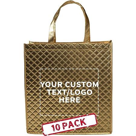 Gold or Silver Metallic or Glitter Vinyl Print Custom Black or Natural Canvas Tote Bag