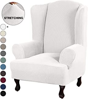 Turquoize Stretch Wingback Chair Slipcover Slipcovers for Wingback Chairs Sofa Slipcover 1-Piece Wing Chair Cover Sofa Cover with Elastic Bottom Jacquard Furniture Protector (Wing Chair, Off White)