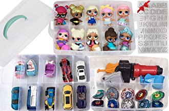HOME4 No BPA Storage Organizer Carrying Case Box 30 Adjustable Compartments Compatible with Small Dolls LOL Toys Bead Beyblade Hot Wheels Tool Craft Sewing Jewelry Hair Accessories (Clear)