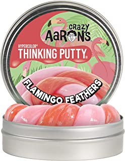"""Crazy Aaron's Thinking Putty 4"""" Tin - Soft Texture, Color Changing Putty - Flamingo Feathers Hypercolor - Never Dries Out"""