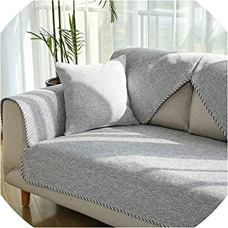 Elegant Linen Cotton Sofa Cover Living Room Slipcover Sectional Corner Couch Cover One Piece Armrest Sofa Towel Slip Resistant,Grey 1piece,90x90cm 1piece