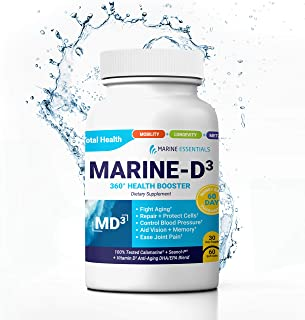 """Marine Essentials Vitamin D3 Omega 3 Fish Oil - """"Marine-D3"""" 340 mg Vitamin D3 DHA Anti Aging Omega 3 Fish Oil Dietary Supplement (60 Softgels)"""