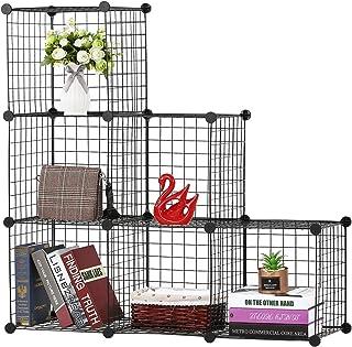 BASTUO - Estantería de almacenamiento de alambre para 6 cubos, cubos modulares, armario para juguetes, libros, ropa, color negro