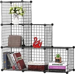 BASTUO 6 Cubes Wire Storage Cabinet Bookcase Shelf Modular Cube Organizer Rack,Closet for Toys,Books,Clothes,Black
