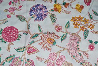 5 Yard Cotton Floral Print Cotton Fabric by Yard, Natural Dyes Sanganeri Indian Cotton Fabric Hand Block Printed Handmade Cotton Fabric