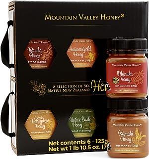 Raw Honey Gift Box (Set of 6) with Premium New Zealand Manuka Honey MGO 83+, Gourmet Honey Collection, 100% Pure Natural H...