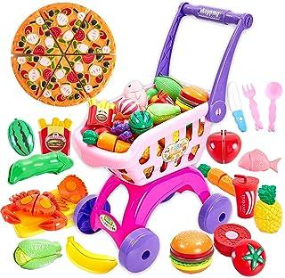 Buyger 2 en 1 Supermercado Carrito Compra Frutas y Verduras Juguete para Cortar Cocina Alimentos Accesorios Regalo Cumplea...