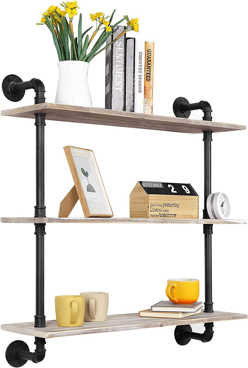 MyGift 3-Tier Rustic Wood Wall Display Popular Same day shipping brand in the world Floating Mounted wi Shelf