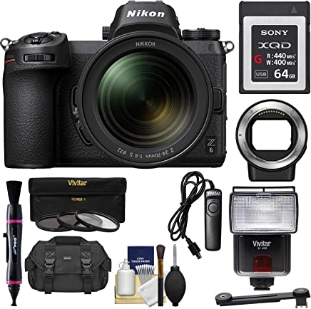 $2519 Get Nikon Z6 Mirrorless Digital Camera & 24-70mm f/4 S Lens with Mount Adapter FTZ + 64GB XQD Card + Case + 3 UV/CPL/ND8 Filters + Flash + Remote + Kit