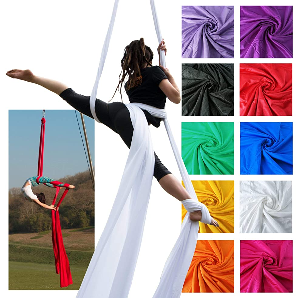 Firetoys Professional Aerial Silks Fabric/Tissues, Medium Stretch Silk WLL 282lbs (128kg) (White, 52' (16m))