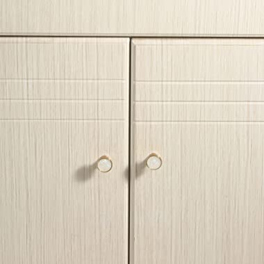 4 Pack Cupboard Knobs Drawer Knobs,Round White Drawer Pulls with Gold Edge,Single Hole Handles for Cabinet Dresser Modern Kit