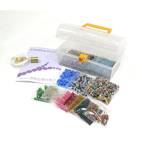Kit de fabrication de bijoux - contient d'argent doublé perles, perles de Bi-cône, un vaste assortiment de perles de verre, cordon élastique, perles, fil, Tubes de sertissage. Tout ce que vous devez faire beaucoup de bijoux - cadeau idéal ou partie de l'activité - Instructions incluses