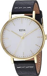 Vestal 'Sophisticate' Swiss Quartz Stainless Steel and Leather Dress Watch, Color Black (Model: SP42L03.BKWH)