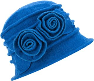 Lawliet 1920s Gatsby Womens Flower Wool Warm Beanie Bow Hat Cap Crushable A287