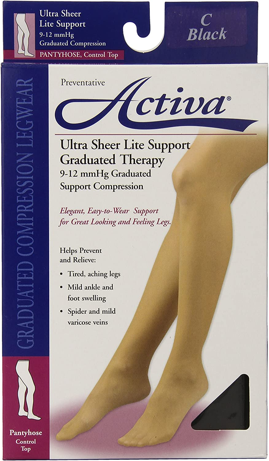 Activa Ultra-Sheer Control Top Louisville-Jefferson shipfree County Mall 9-12 mmHg Compression Hosiery