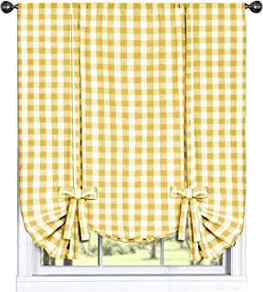 GoodGram Buffalo Check Plaid Gingham Custom Fit Farmhouse Window Curtain Tie Up Shades - Assorted Colors (Yellow)