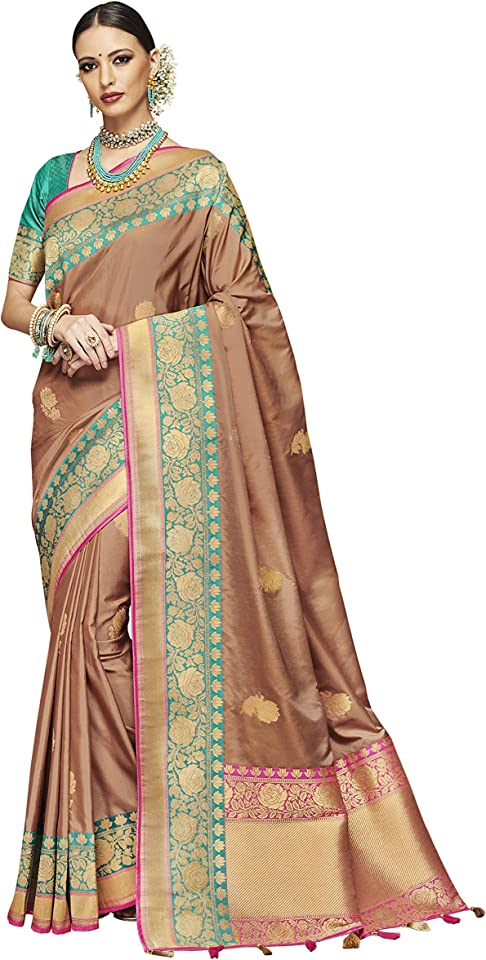 Women's art silk jacquard saree paired with rama green silk jacquard and magenta dhupion embroidery blouse (Brown colour)