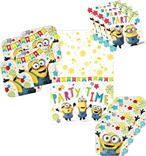 Minion Party Pack Tableware Supplies for 16 Guests - Includes 16 Dinner Plates, 16 Dessert Plates, 16 Dinner Napkins, and 1 Tablecover, Bundle