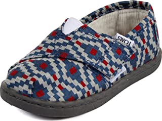 Toms Tiny Toddler Classic in Navy Diamond Woven 8