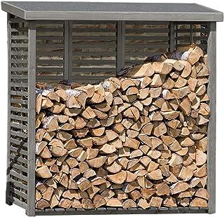Loywe Kaminholzregal Kaminholzhalter Brennholzregal Feuerholzregal Kaminholzst/änder Brennholz Holzhalter aus Metall in Schwarz 80 x 25 x 150 cm LW1086