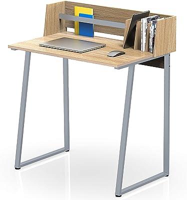 FITUEYES Scrivania per Computer con Scaffale Legno Oak Workstation per Ufficio Domestico 82,4x51,2x93,5cm CD108206WO