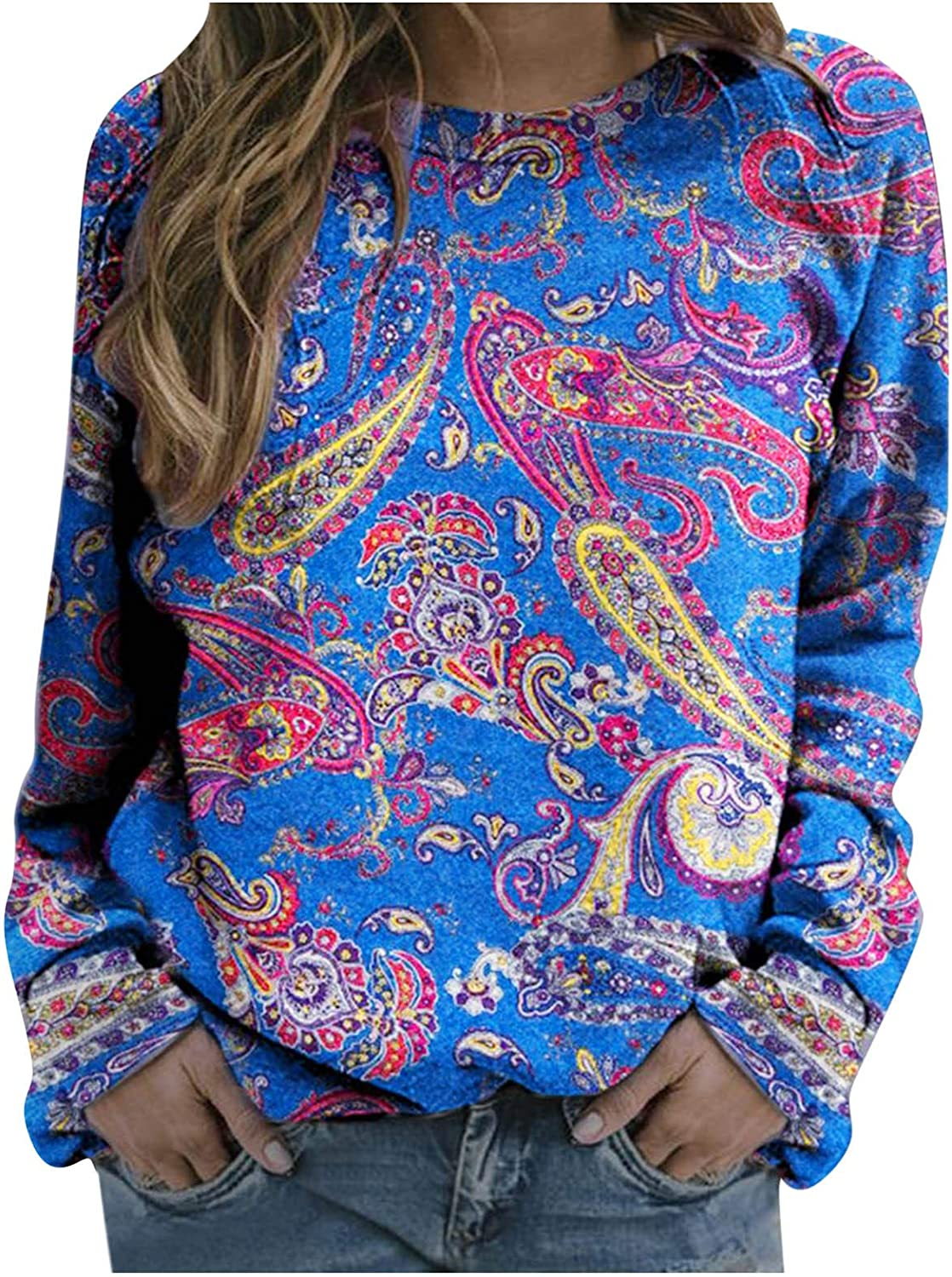 Nulairt Pullover Tops for Women Graphic Colorful Print Sweater Brand new Max 68% OFF C