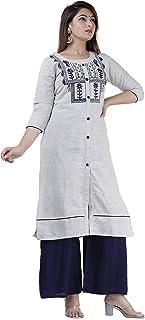Meera Designer Women s Khadi Cotton Embroidered Kurta with Palazzo Set