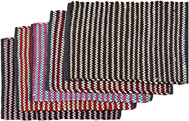 Shankara Reversible Striped Multicolored Cotton Blend Door Mat Bath Mat for Indoor and Outdoor Set of 5 (Multicolored, 16x24