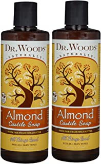 Dr. Woods Pure Almond Liquid Castile Soap with Organic Shea Butter, 16 Ounce (Pack of 2)