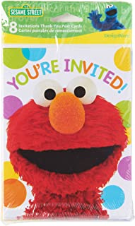 American Greetings Sesame Street Party Supplies, Invitation and Thank You Card Bundle (8-Count)
