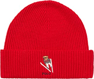 Men`s Ski Bear Wool Blend Knit Beanie Hat