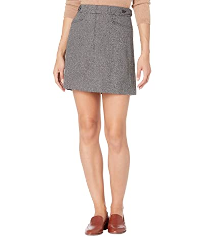 Madewell Herringbone Assembly A-Line Mini Skirt (Nubby Black/White Heather) Women