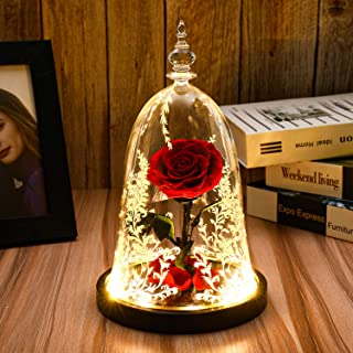 Beauty and The Beast Rose, Preserved Real Rose in a Glass Dome with LED Lights,Gift for Valentine`s Day Wedding Anniversary Birthday (Beauty and The Beast Preserved Rose)