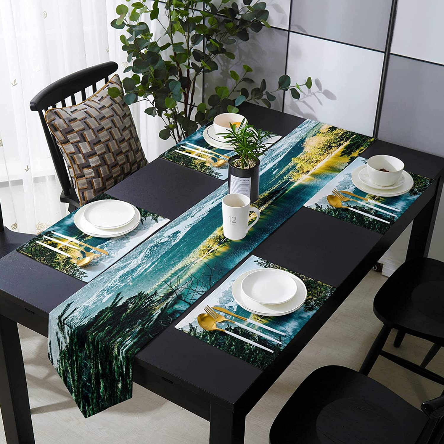 Aomike Placemats Japan's largest assortment and Table Runner 13 x Set Max 50% OFF 90 Dining Ta inch for