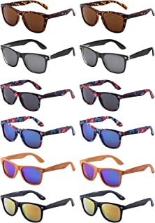 Retro Style Mirrored Party Sunglasses Wholesale Shades for Men Women 12 Pack